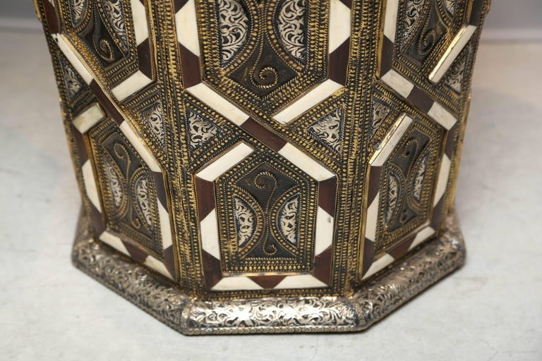 Moroccan Side Tables, Handcrafted in Morocco,metal and Faux Bone Inlay In Excellent Condition For Sale In Miami, Miami Design District, FL