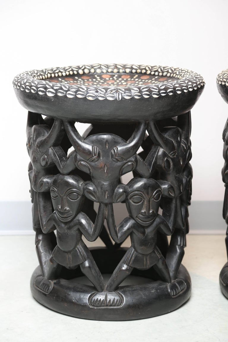 Exceptional treasure of a pair of side tables, materials render it very rich and artisan.