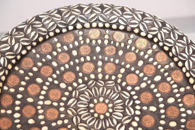 Pair of African Side Tables Extensive Woodcarving Top Inlaid Coins, Cowry Shells For Sale 2