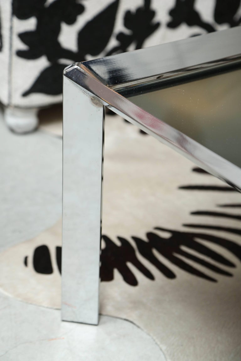 North American SALE! SALE! SALE! MIRROR COFFEE TABLE with Steel  legs, Contemporary, Chic For Sale