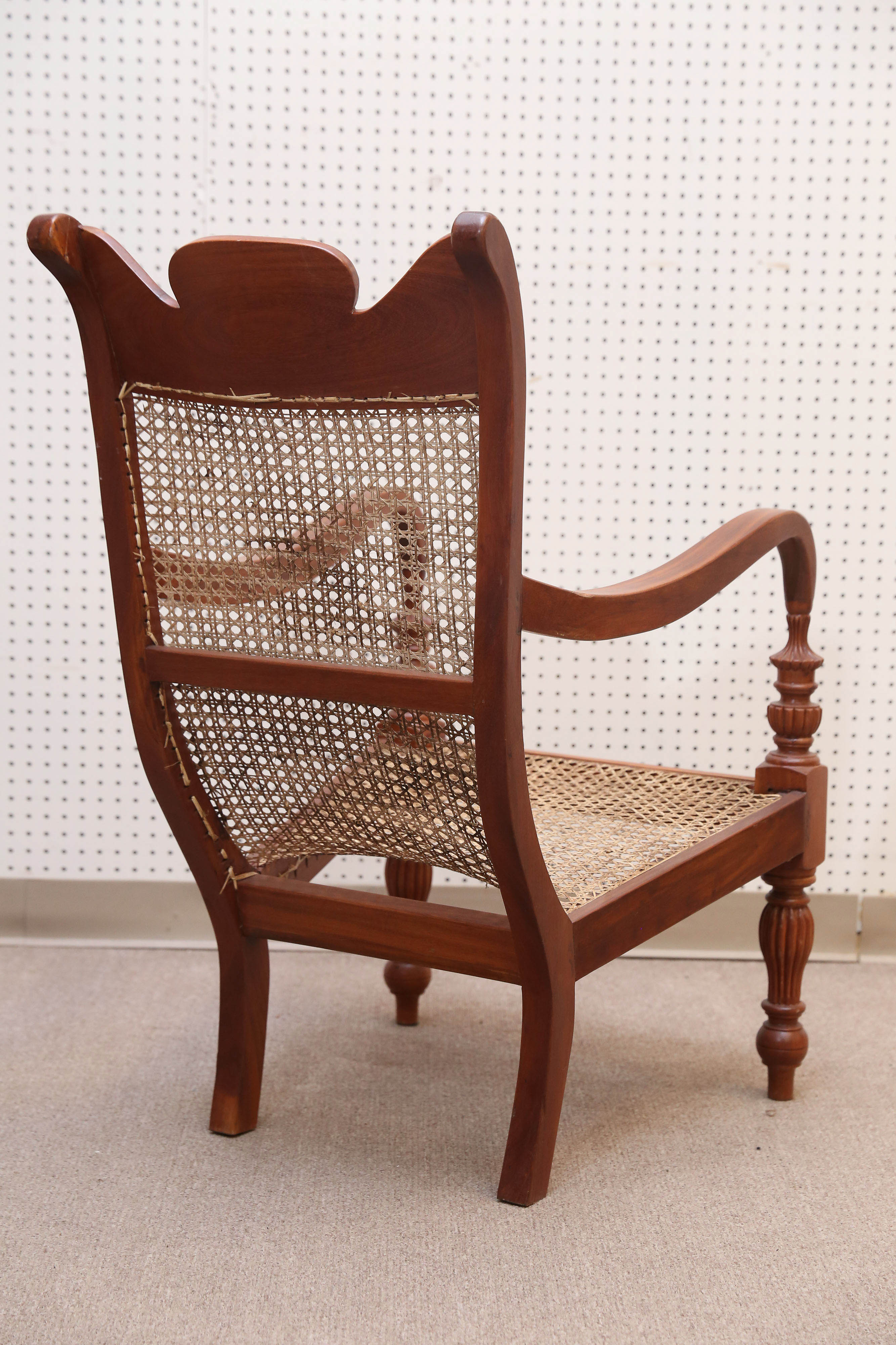 Set of four teak wood and cane lounge chairs from colombo area of sri lanka for sale at 1stdibs