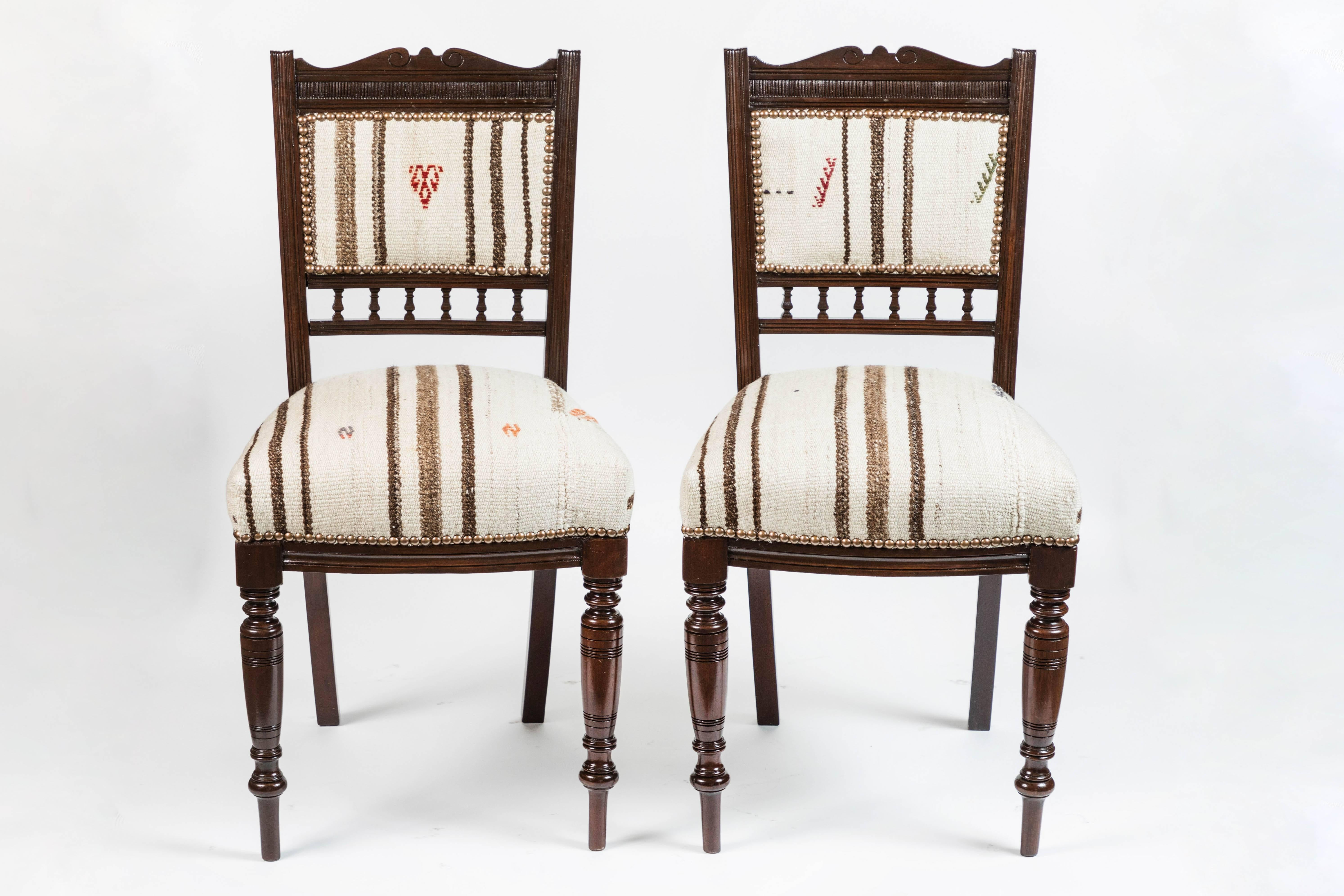 Set Of Six Vintage Dining Chairs In Turkish Rug In Excellent Condition For  Sale In Pasadena