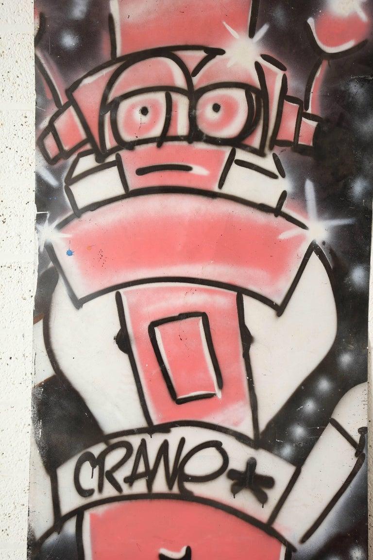 Mid-Century Modern Graffiti Painting Signed Crane Spray Paint Fun Gallery, 1980s For Sale
