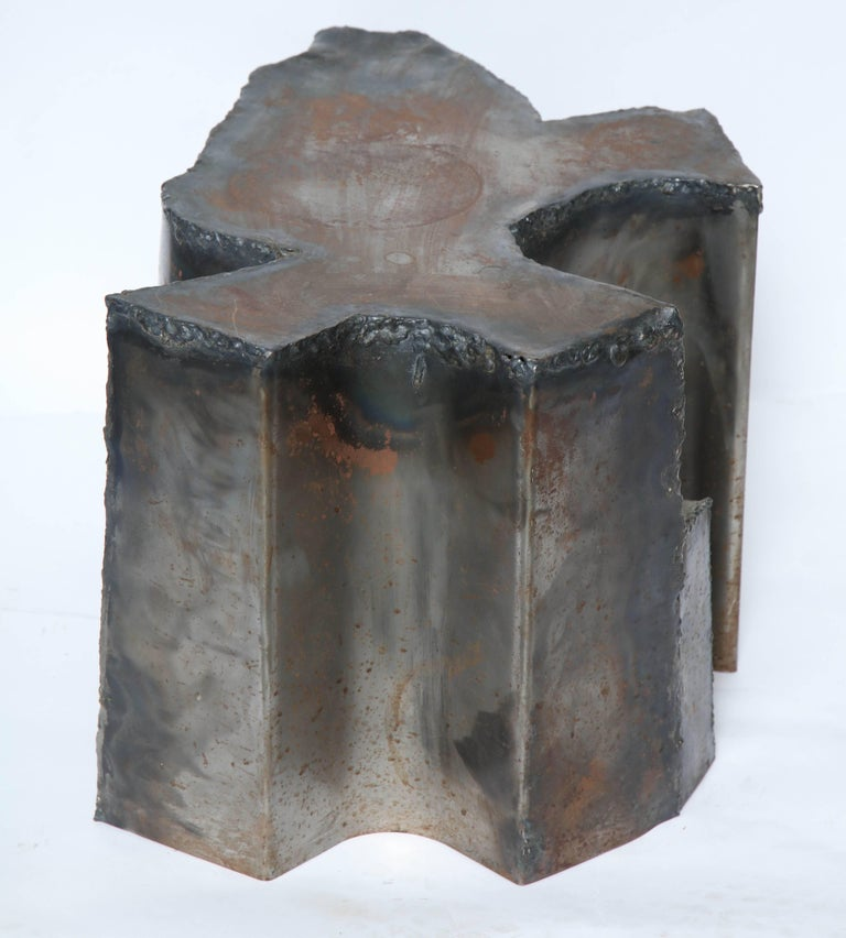 American Brutalist Sculptural Mid-Century Modern End Table Patinated Metal, 1970s For Sale