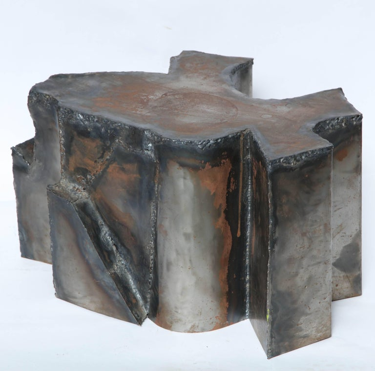 Hand-Crafted Brutalist Sculptural Mid-Century Modern End Table Patinated Metal, 1970s For Sale