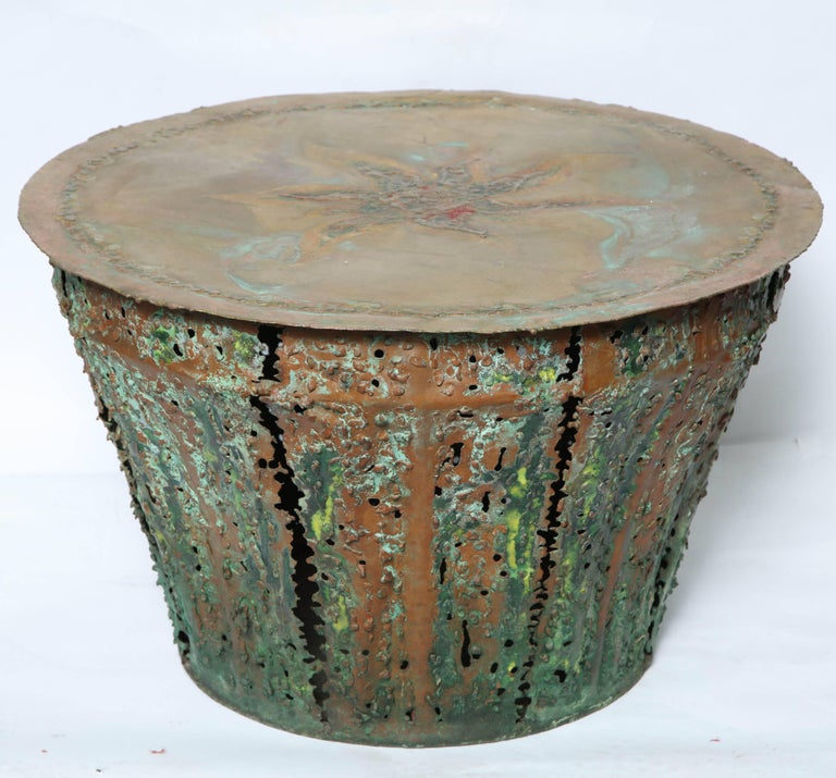 A Mid-Century Modern Brutalist table patinated and enameled brass attributed to Silas Seandel.