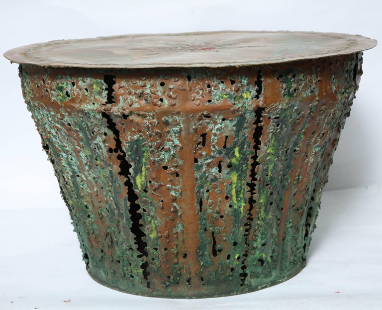 American Mid-Century Modern Brutalist Table Patinated Brass Attributed to Silas Seandel For Sale