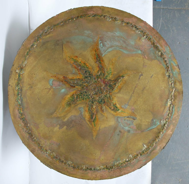 Late 20th Century Mid-Century Modern Brutalist Table Patinated Brass Attributed to Silas Seandel For Sale