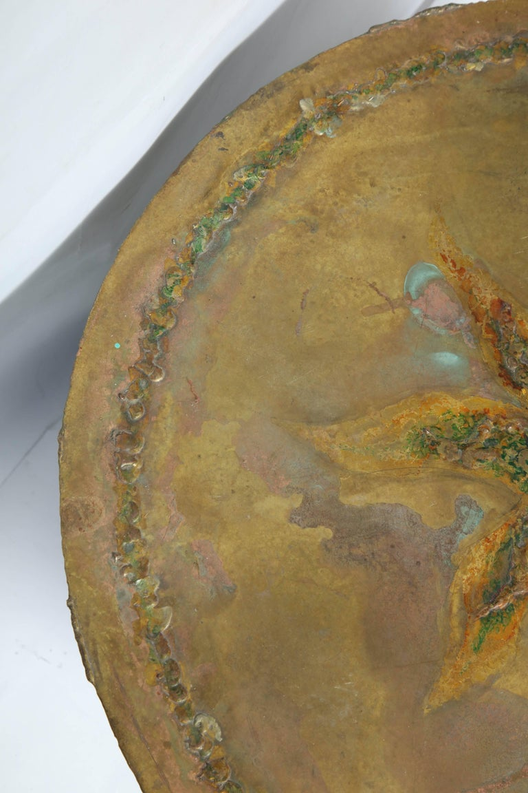 Mid-Century Modern Brutalist Table Patinated Brass Attributed to Silas Seandel For Sale 2