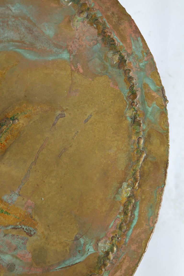 Mid-Century Modern Brutalist Table Patinated Brass Attributed to Silas Seandel For Sale 3