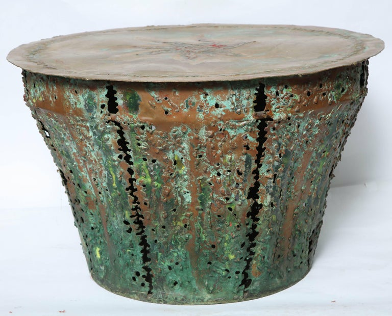 Mid-Century Modern Brutalist Table Patinated Brass Attributed to Silas Seandel For Sale 4
