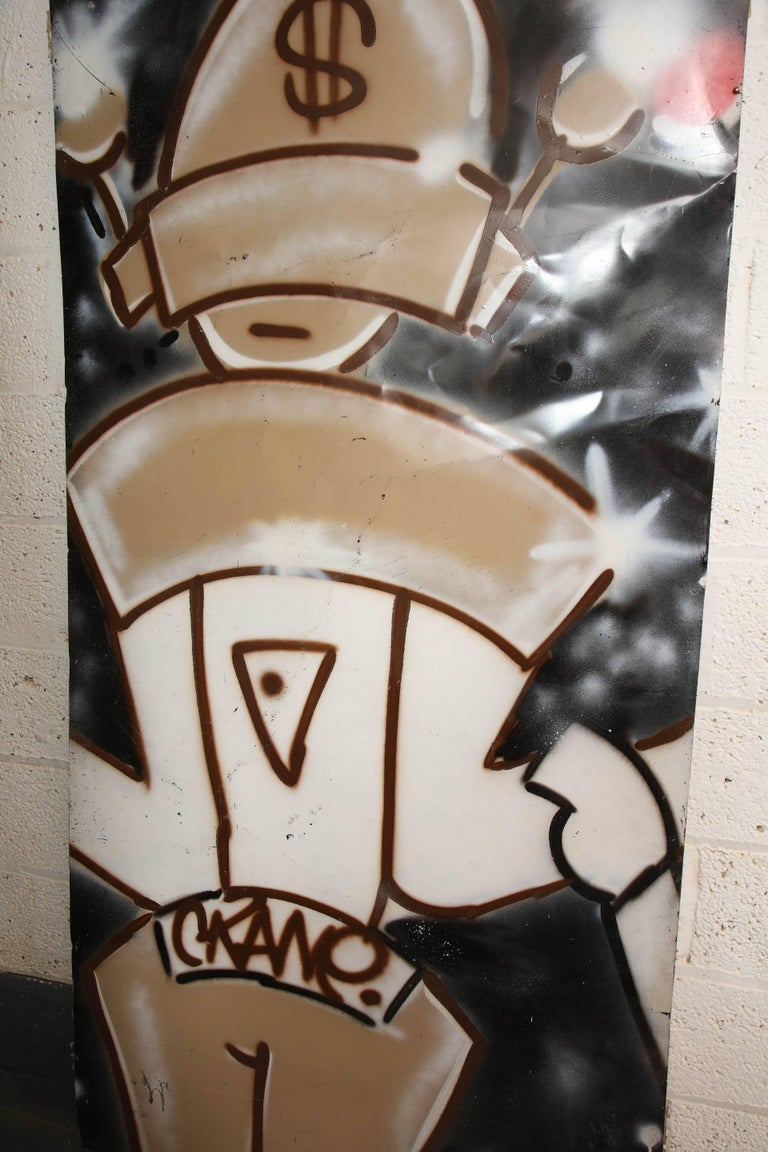 American Graffiti Painting Signed Crane Spray Paint Fun Gallery, 1980s For Sale