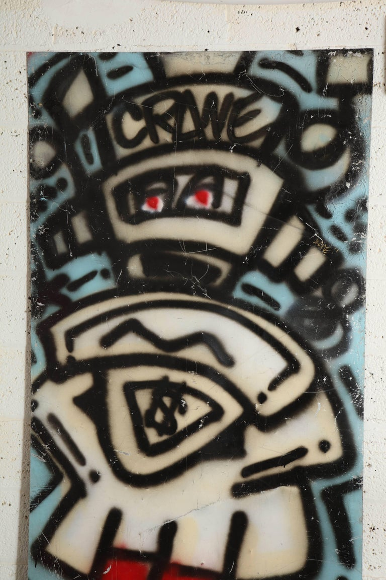 Graffiti painting signed crane spray paint on tin 1980s Fun Gallery.