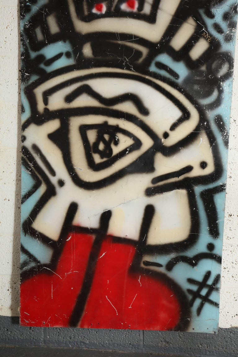 Mid-Century Modern Graffiti Painting Signed Crane Spray Paint on Tin 1980s Fun Gallery Eat Village For Sale