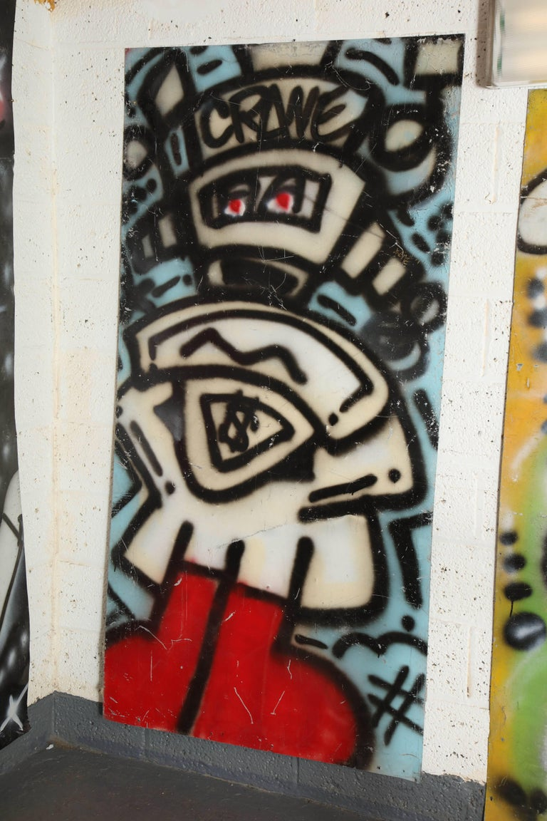 Late 20th Century Graffiti Painting Signed Crane Spray Paint on Tin 1980s Fun Gallery Eat Village For Sale