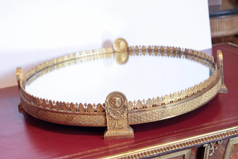 Period Empire Gilt Bronze Rare Mirrored Plateau In Good Condition For Sale In Dallas, TX
