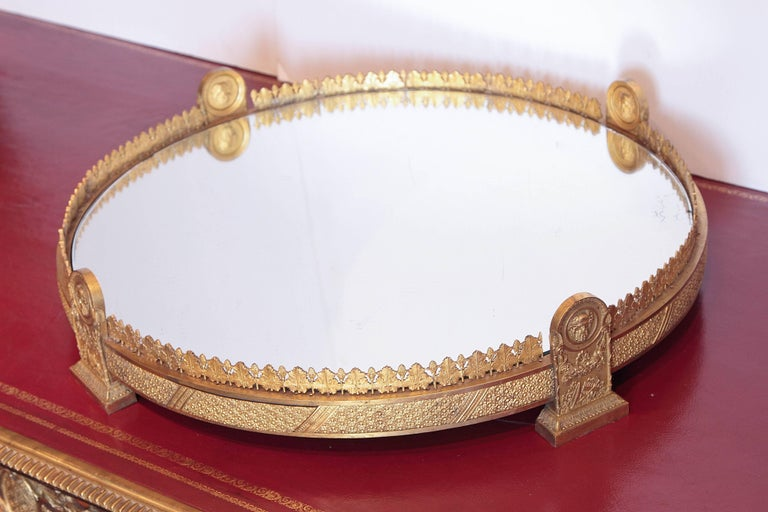 Period Empire Gilt Bronze Rare Mirrored Plateau For Sale 2