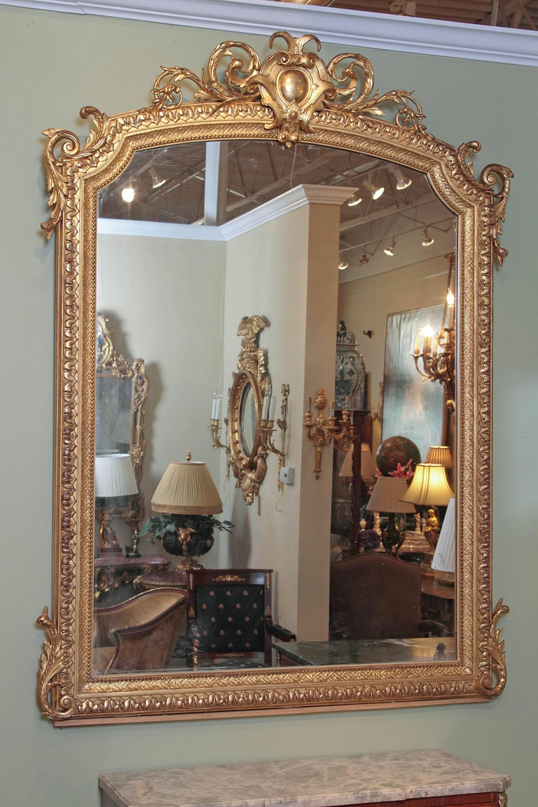 Hand-Carved 19th Century French Louis XV Water Gilt Carved Large Mirror For Sale