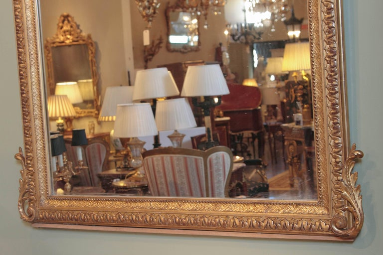 19th Century French Louis XV Water Gilt Carved Large Mirror In Excellent Condition For Sale In Dallas, TX