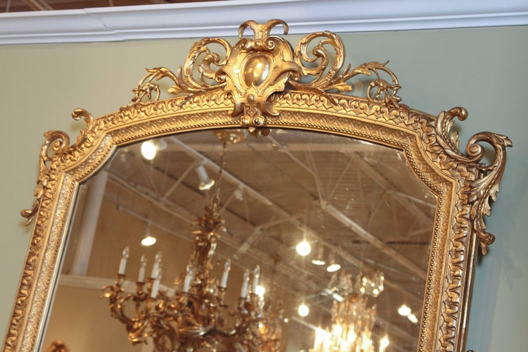 Giltwood 19th Century French Louis XV Water Gilt Carved Large Mirror For Sale