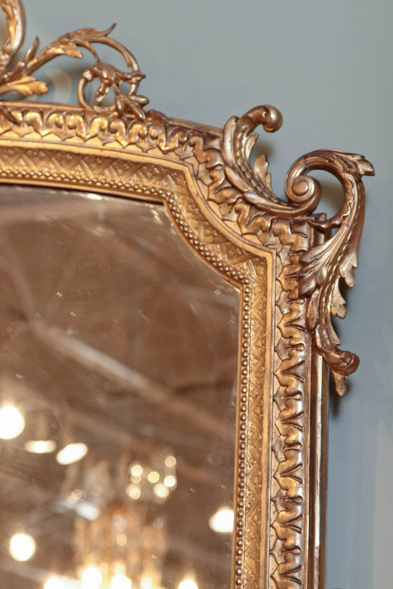 19th Century French Louis XV Water Gilt Carved Large Mirror For Sale 2