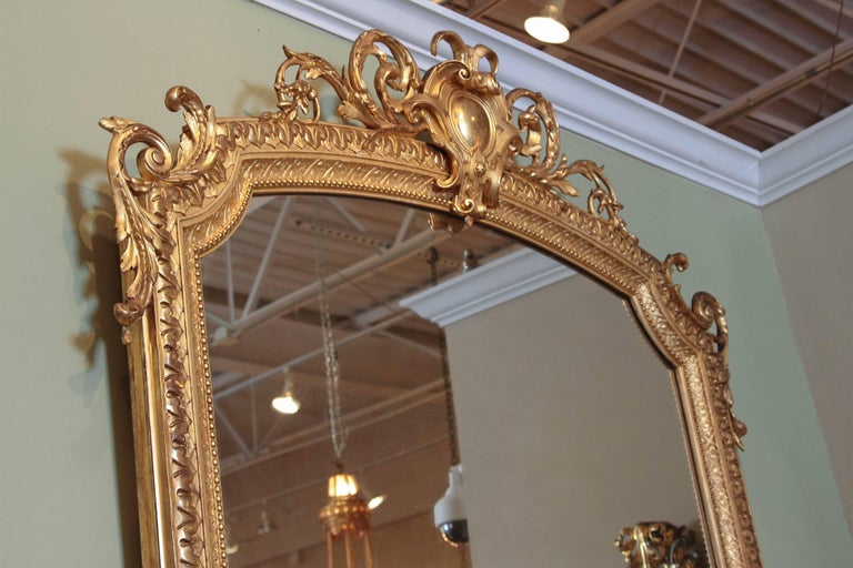 19th Century French Louis XV Water Gilt Carved Large Mirror For Sale 5