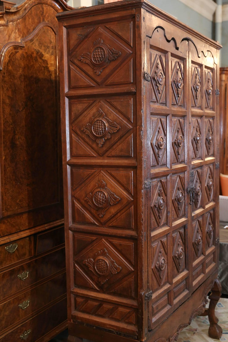 17th Century Carved Baroque Colonial English Oak Armoire