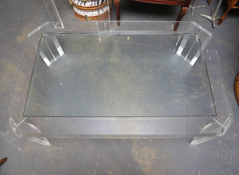 American  Signed Les Prismatiques Lucite Midcentury Coffee Table For Sale