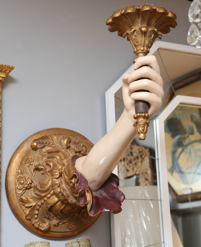 "Pair of Life-Size Carved Italian ""Arm"" Sconces 3"