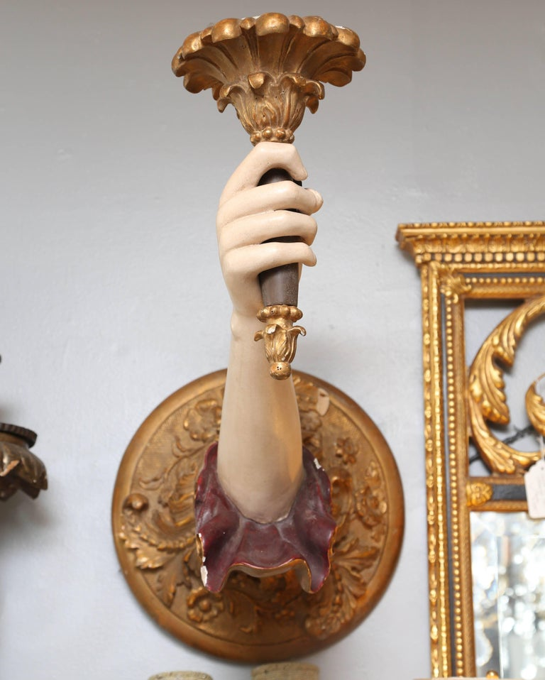 "Pair of Life-Size Carved Italian ""Arm"" Sconces 4"