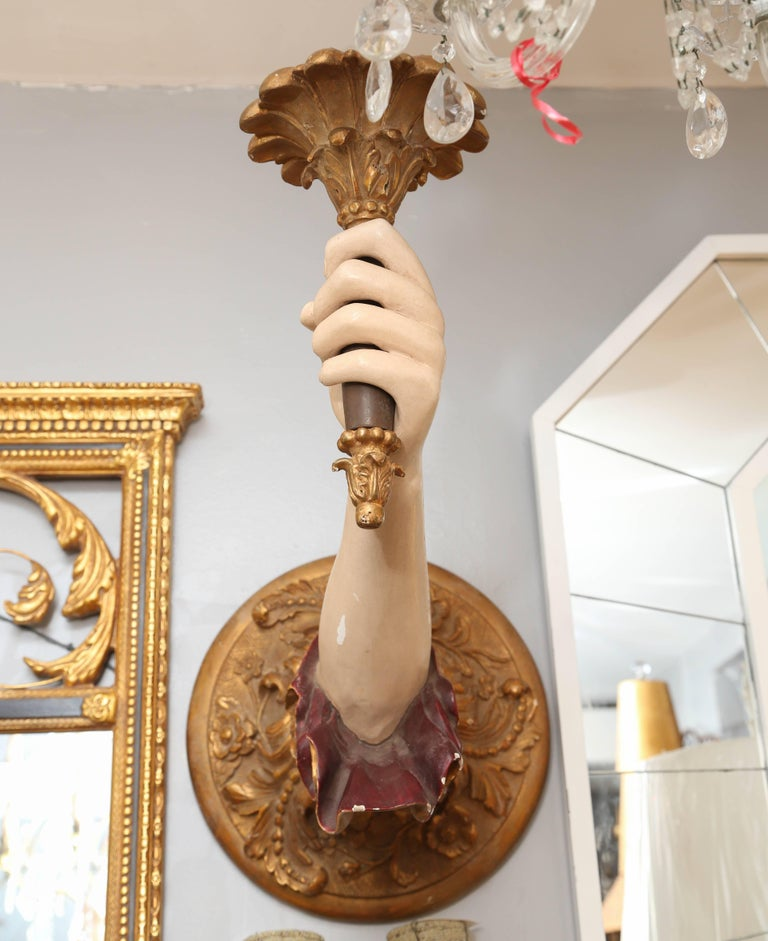 "Pair of Life-Size Carved Italian ""Arm"" Sconces 5"
