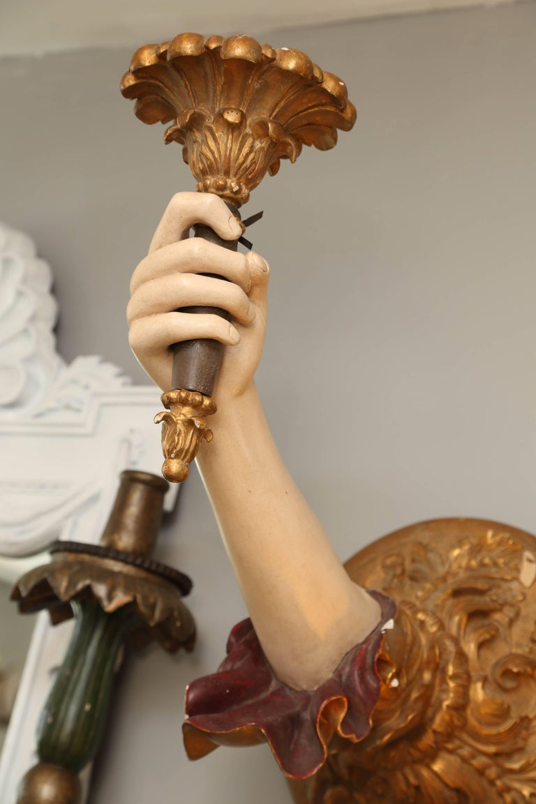 "Pair of Life-Size Carved Italian ""Arm"" Sconces 6"