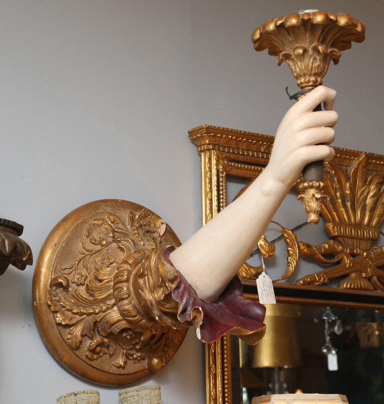"Pair of Life-Size Carved Italian ""Arm"" Sconces 8"