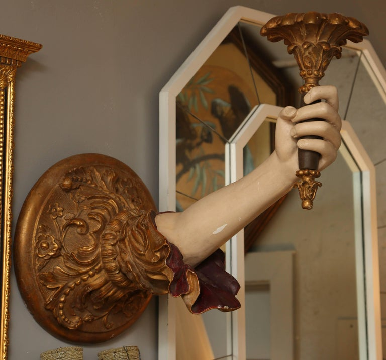 "Pair of Life-Size Carved Italian ""Arm"" Sconces 9"