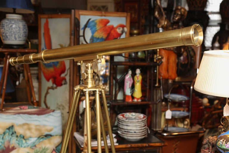 English Brass Telescope with Stand Signed Ross, London For Sale