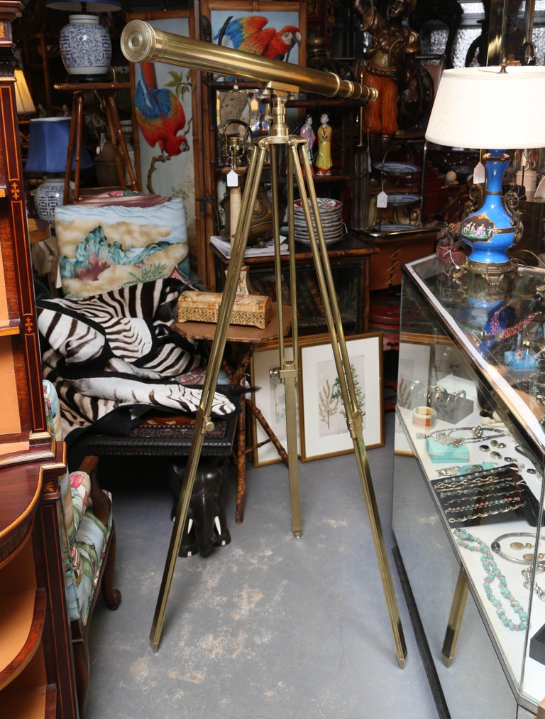 Brass Telescope with Stand Signed Ross, London For Sale 2