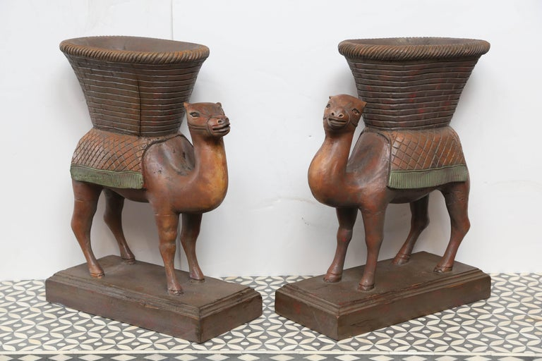 Mid-20th Century Superb Pair of Anglo-Indian Camel Form Jardinières For Sale
