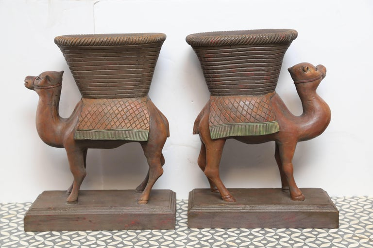 Wood Superb Pair of Anglo-Indian Camel Form Jardinières For Sale