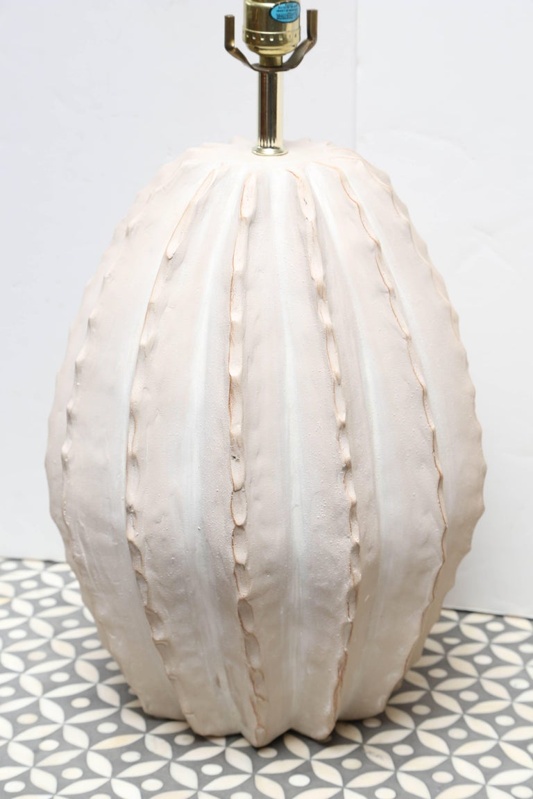 A superb pair of cactus form lamps in a white matte finish.