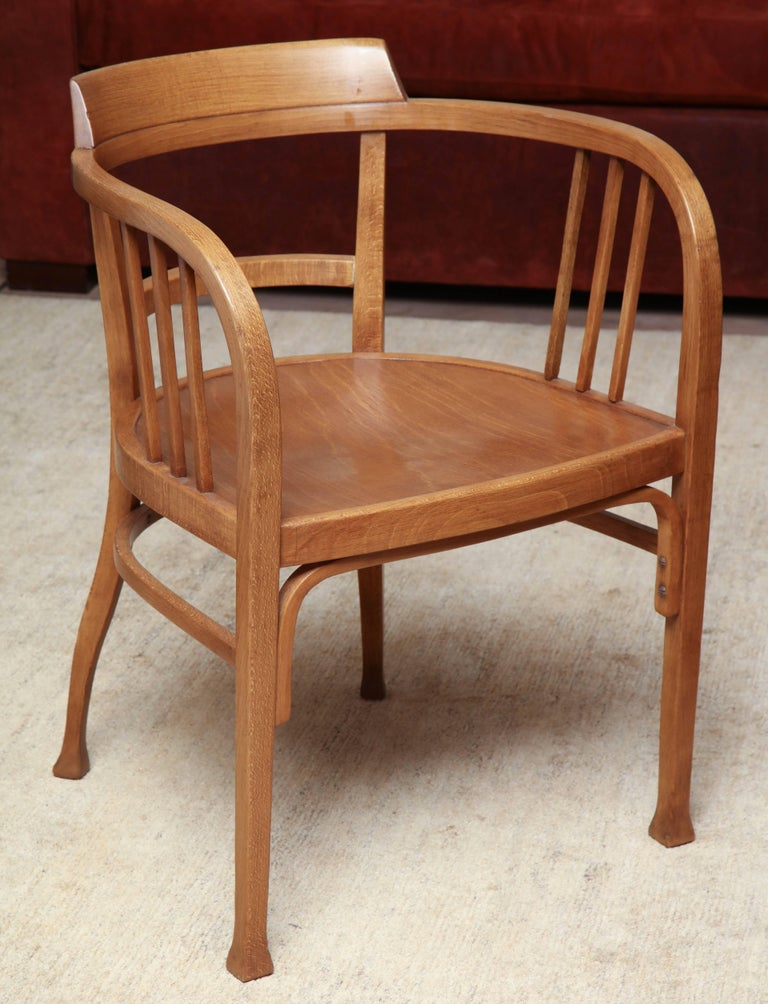 Pale honey finished Thonet armchair in the manner of Otto Wagner, circa 1900.