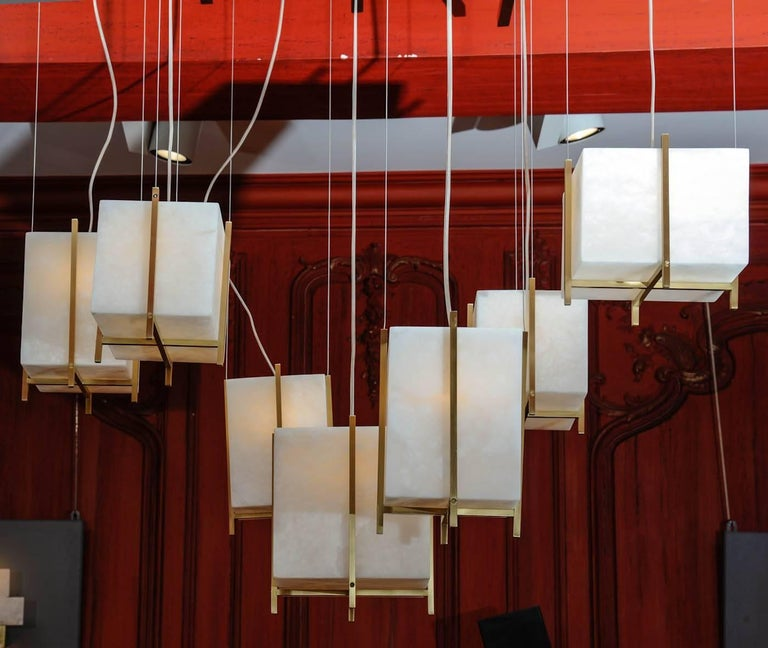 Modern Chandelier with Alabaster Cubes For Sale