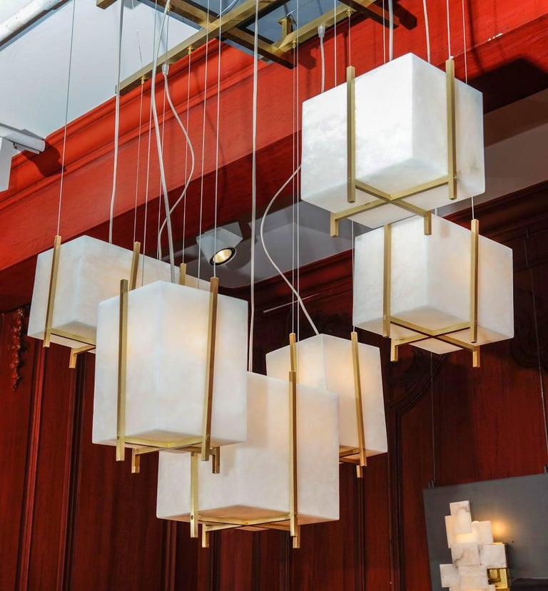 Chandelier with Alabaster Cubes In Excellent Condition For Sale In Saint-Ouen (PARIS), FR
