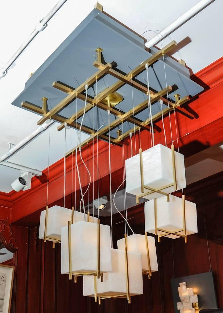 Contemporary Chandelier with Alabaster Cubes For Sale
