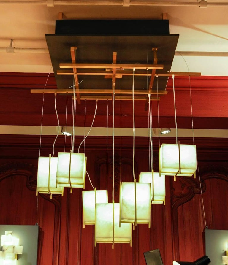 Brass Chandelier with Alabaster Cubes For Sale