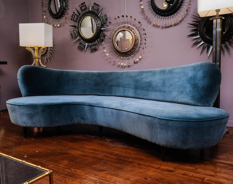 Italian Curved Vintage Sofa For Sale