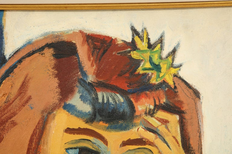 Hand-Painted Painting from the 1940s For Sale