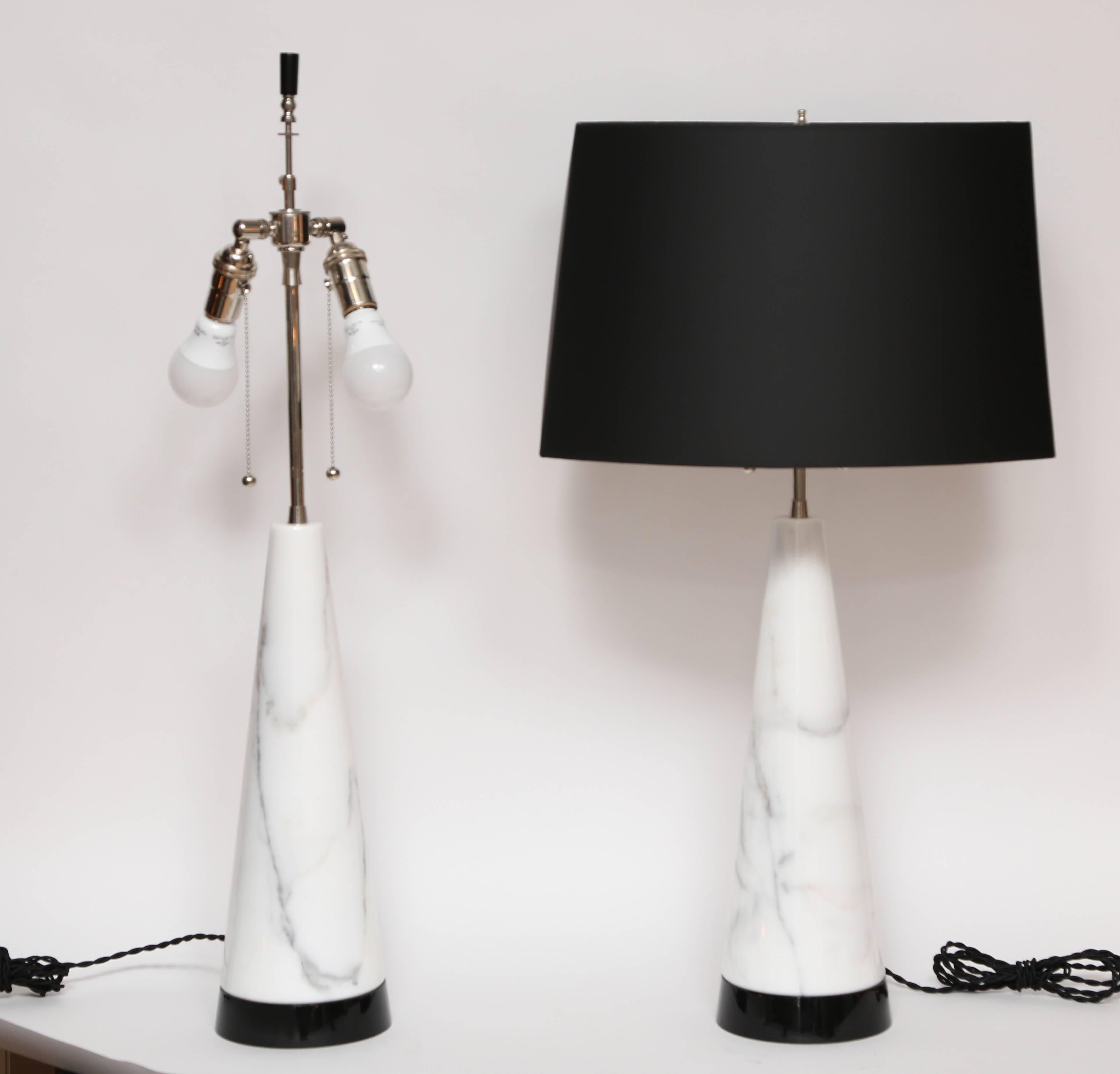 Superb Pair Of White Italian Marble Cone Table Lamps For Sale At 1stdibs