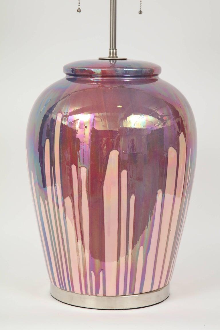 Glazed Italian Iridescent Drip Glaze Lamps For Sale