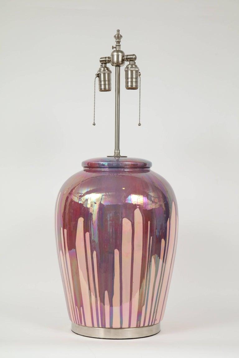 Modern Italian Iridescent Drip Glaze Lamps For Sale