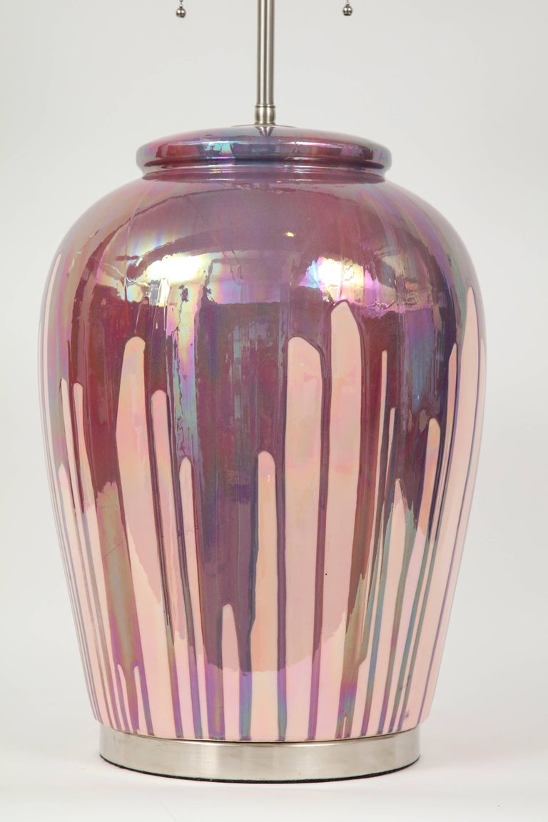20th Century Italian Iridescent Drip Glaze Lamps For Sale